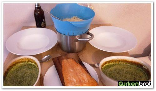 Spaghetti, Spinat und Lachs
